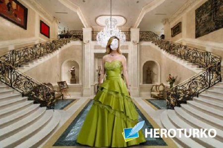 Шаблон женский - В платье на вилле