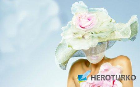 PSD шаблон для девушек - В гламурной шляпке с цветами