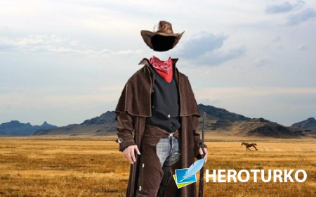 Шаблон для Photoshop - Ковбой дикого запада
