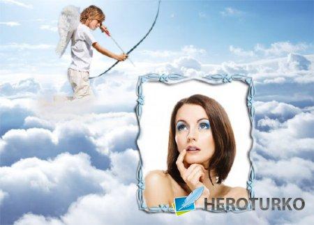 Фоторамка для фотошопа - Амур в облаках