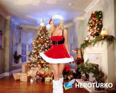 Photoshop шаблон - В костюме снегурочки возле елки