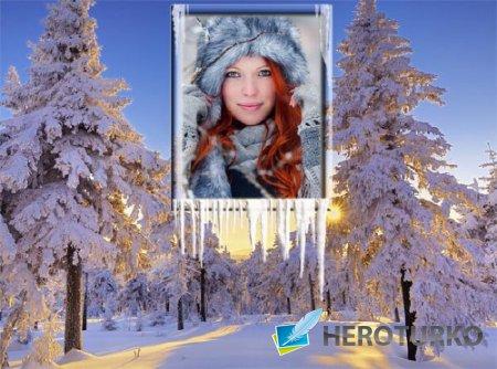 Фоторамка psd - Зимний лес на закате