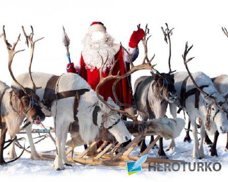 Мужской шаблон - В костюме Деда Мороза с оленями