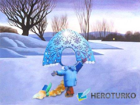 Шаблон для фотомонтажа - Снегурочка на катке