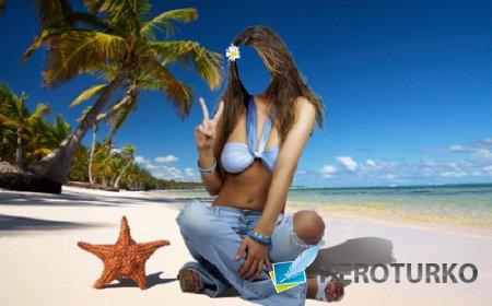 Шаблон для Photoshop - Отдых в жарких странах на берегу океана