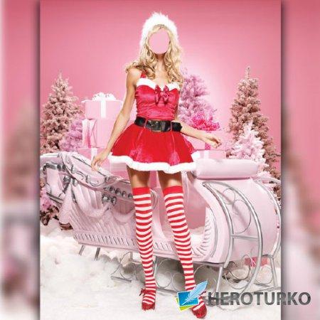 Шаблон для Photoshop - Снегурочка и сани