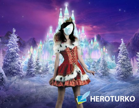 Фото шаблон - Снежное королевство и его принцесса