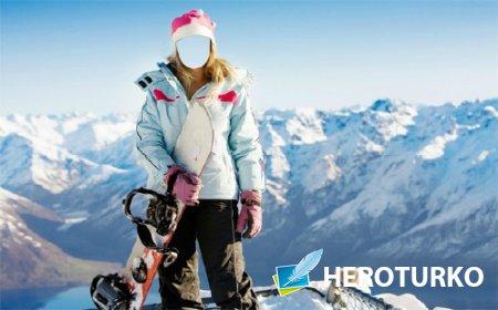 Шаблон для фото - Катание на сноуборде