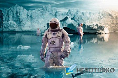 Мужской фото шаблон - На неизведанной планете