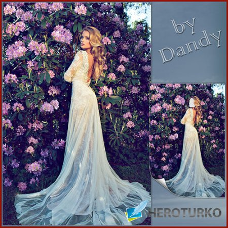Шаблон для девушки - В шикарном платье среди цветов