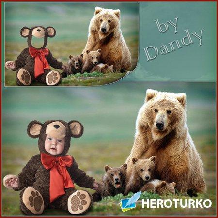Шаблон для мальчика - Медвежонок в кругу друзей