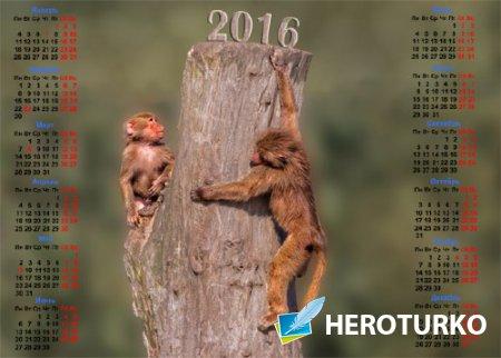 Календарная сетка - Две обезьяны на пеньке