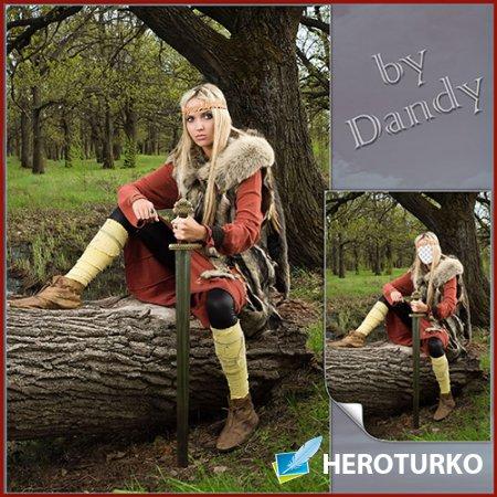 Шаблон для фотошопа - Девушка воин