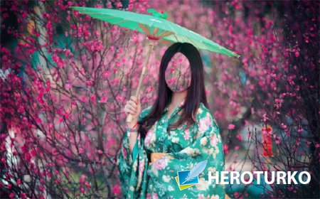 Фото шаблон - Девушка в красивом кимоно