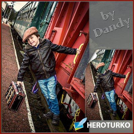 Шаблон для фотошопа - Мальчик на поезде с чемоданом