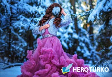 Шаблон psd - На фотосессии в розовом платье