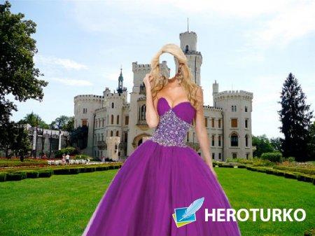 Шаблон psd - Возле замка в красивом сиреневом платье
