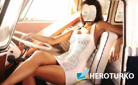 Шаблон для фотошопа - В ретро автомобиле в белом платье