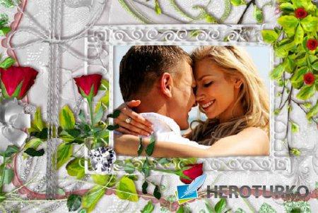 Фоторамка psd - Нежные розы