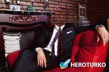 Шаблон для фотомонтажа - Богатый человек в кресле