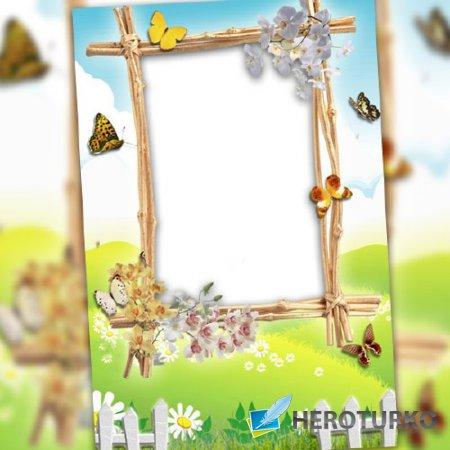 Рамка для фотомонтажа - Весенние бабочки