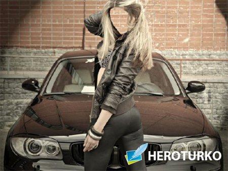 Шаблон для фото - Девушка возле BMW