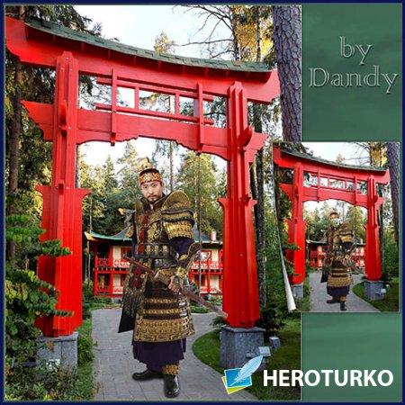 Шаблон для мужчины - Японский самурай с мечом