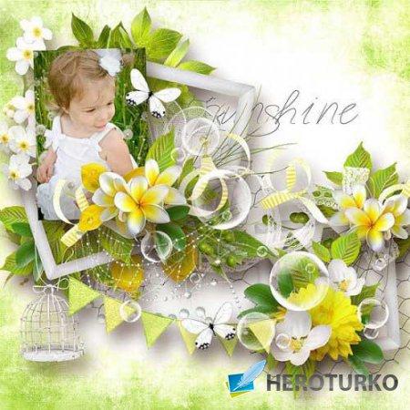 Яркий цветочный скрап-набор - Лимонная свежесть