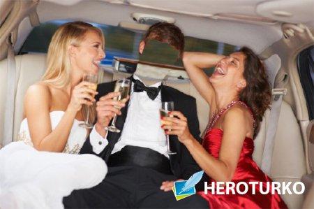 Фотошаблон - В машине с девушками