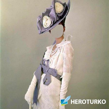 Шаблон для фотомонтажа - Дама в шляпке