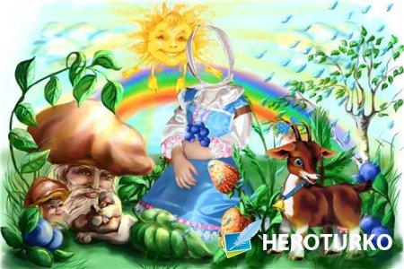 Фотошоп шаблон для девочек – Девочка и козленок