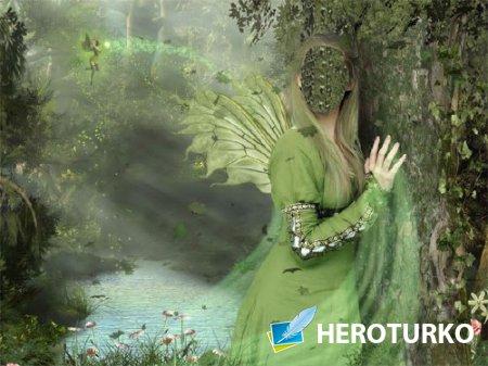 Шаблон psd женский - Фея в лесу