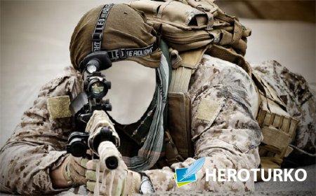 Шаблон для фото - Солдат с автоматом