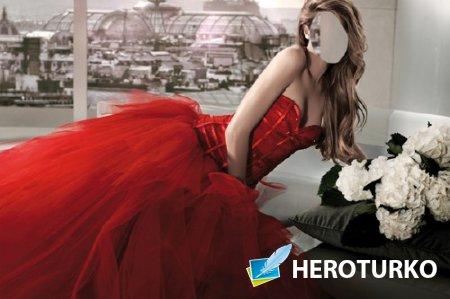Photoshop шаблон - В королевском красном платье