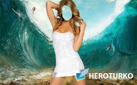 Женский фотошаблон - На дне моря