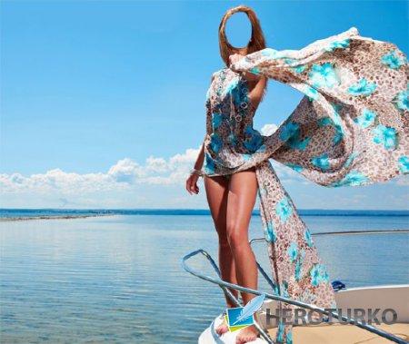 Шаблон для Photoshop - Летний отдых на яхте в море