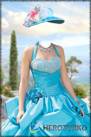 Женский шаблон для фотошопа – В голубом наряде