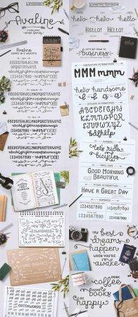 Рукописные шрифты орнаменты - Avaline Script Ornaments
