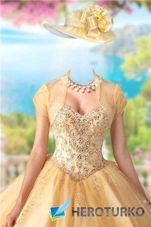 Шаблон для фотошопа женский – В золотом платье