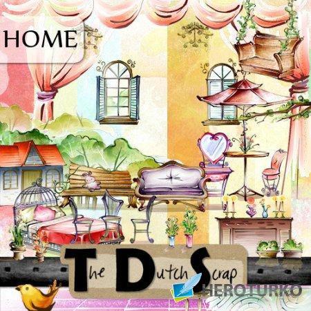 Уютный дачный домик - скрап - комплект