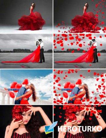 Оверлеи для фотошопа - Падающие лепестки роз