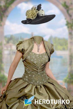 Шаблон женский для фотошопа – В бальном платье у арки
