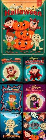 Винтажные постеры Хэллоуин - векторный клипарт