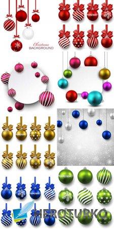 Бэкграунды с новогодними шарами - растровый клипарт