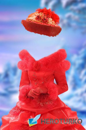 Шаблон для фотошопа женский – Бальное платье с мехом