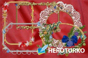 Клипарт Зимние праздничные рамки-вырезы