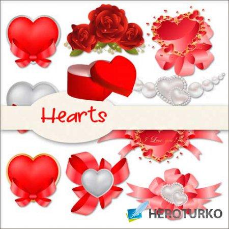 Романтический скрап-набор - Сердечки
