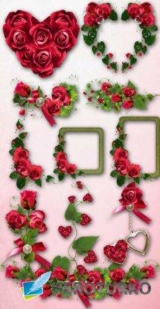 Цветочный скрап-набор - Розовые композиции