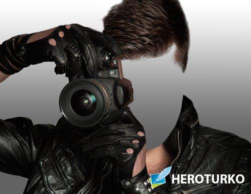 Шаблон для фото - Парень с фотокамерой