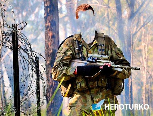Фотошаблон - Солдат с винтовкой